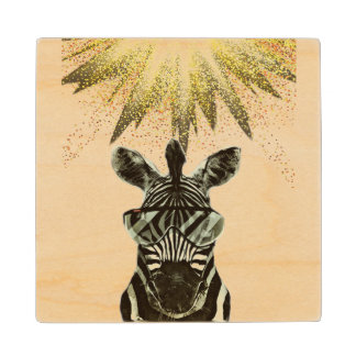 Hipster Zebra Style Animal Wood Coaster