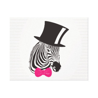 Hipster Zebra with Fancy Tall Hat and a Pink Bow. Canvas Print