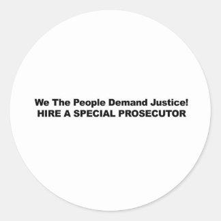 Hire a Special Prosecutor Classic Round Sticker