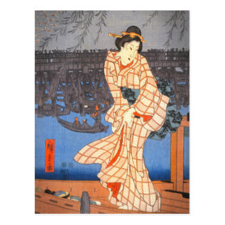 Hiroshige Evening on the Sumida River Japanese Art Postcard