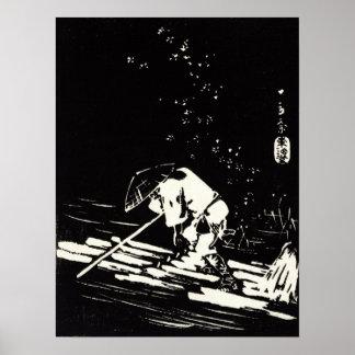 Hiroshige Hanaikada Flower Petals Sprinkling Raft Poster