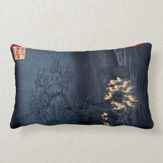 Hiroshige Midnight at the Changing Tree Japanese Lumbar Cushion