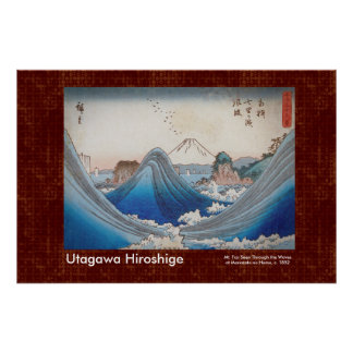 Hiroshige Scroll Pattern Mt Fuji Through the Waves Poster