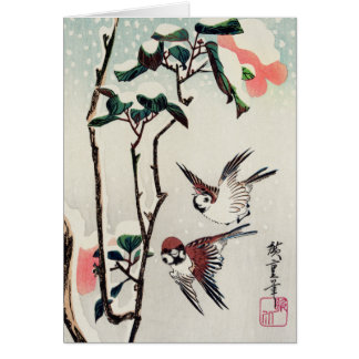 Hiroshige Sparrows and Camellias in the Snow Card