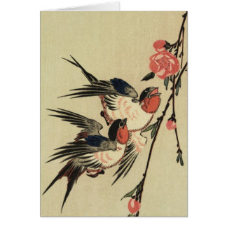 Hiroshige Swallows and Peach Blossoms Card