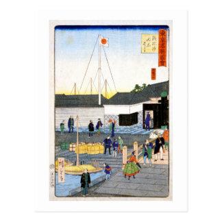 Hiroshige The Akashi Bridge in Teppōzu Postcard