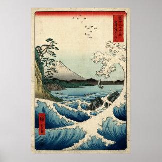 Hiroshige The sea at Satta in Suruga Province Poster