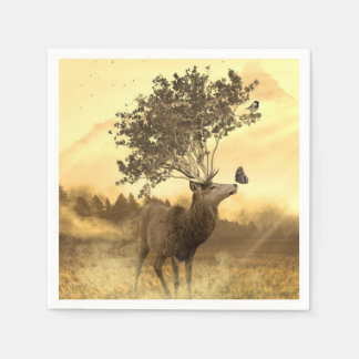Hirsch Fantasy Nature Art Illustration Paper Serviettes