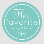 His and Her aqua favourite wedding favour stickers
