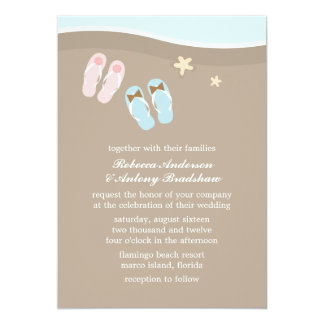 His and Hers Flip Flops Beach Wedding 13 Cm X 18 Cm Invitation Card