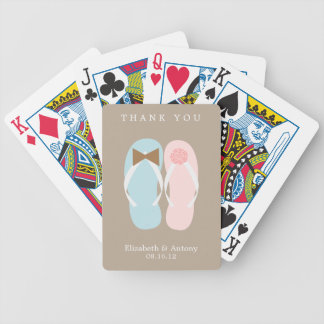 His and Hers Flip Flops Beach Wedding Bicycle Playing Cards