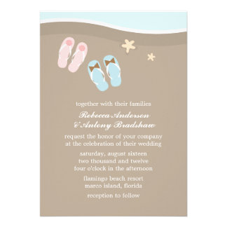 His and Hers Flip Flops Beach Wedding Invites