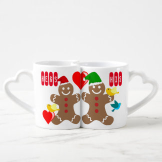 His and Hers Gingerbread Couple, hearts and birds Coffee Mug Set