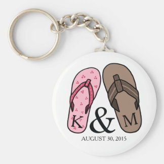 His and Hers Monogrammed Wedding Flip Flops Basic Round Button Key Ring