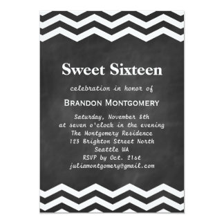 His Chalkboard & White Chevron Sweet 16 Invitation