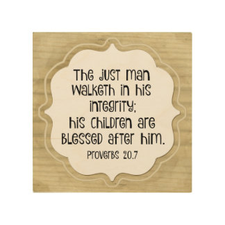 His Children are Blessed after Him Proverbs Verse Wood Prints