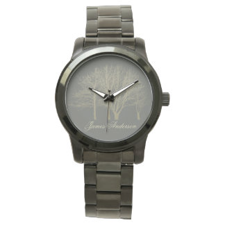 HIS ELEGANT GREY GOLD FALL AUTUMN TREES Monogram Watch
