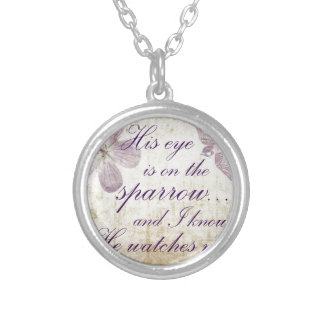 His Eye is on the Sparrow...Bible Verse Art Silver Plated Necklace