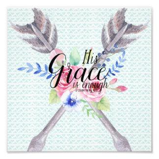 His Grace is Enough: 2 Corinthians 12:9 Photo Print