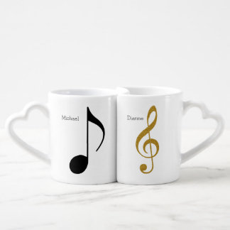 his + Her   Mr. + Mrs. music notes personalized Coffee Mug Set