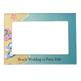 His/Hers Flip Flops on the Beach Wedding Magnetic Picture Frame