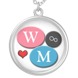 His & Hers Forever Pink & Blue Round Necklace