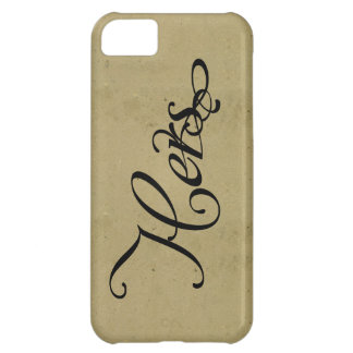 His & hers vintage font & paper cool newlywed iPhone 5C case