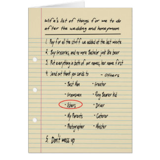 HIS LIST - Thanks ushers - FUNNY Card