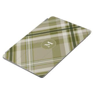 His monogram on drab olive beige plaid iPad air cover