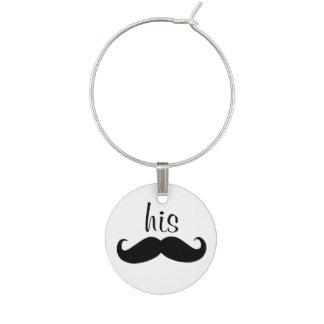 His Mustache Wine Charm