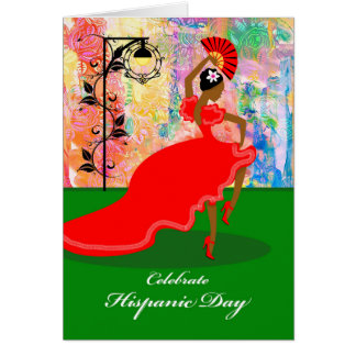 Hispanic Day, Flamenco Dancer in Red Dress, Fan Card