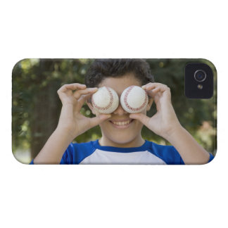 Hispanic teenage boy covering eyes with Case-Mate iPhone 4 cases