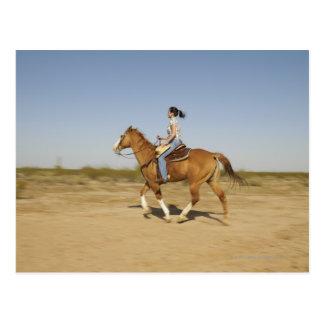 Hispanic woman riding horse 2 postcard