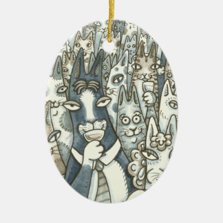 Hiss N' Fitz CAT PARTY CHRISTMAS ORNAMENT Oval