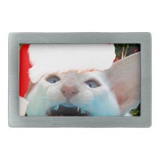 Hissing Cat in a Santa Hat Belt Buckles
