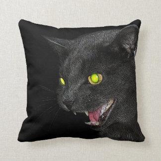 Hissing Grey Cat toss pillow Throw Cushion