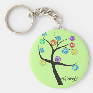 Histologist Tree Design Microscopic Cell Leaves Basic Round Button Key Ring
