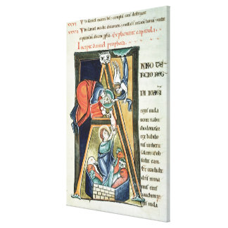 Historiated initial 'A' depicting Daniel Gallery Wrap Canvas