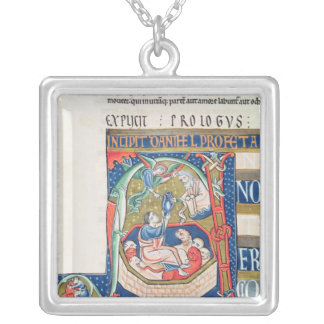 Historiated initial 'A' Depicting Daniel Silver Plated Necklace