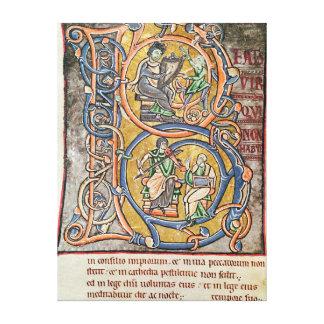 Historiated initial B depicting King David Canvas Print