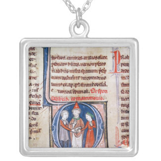 Historiated initial 'D' depicting a marriage Silver Plated Necklace