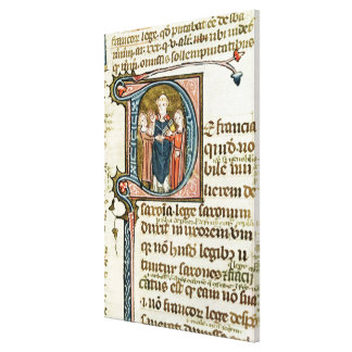 Historiated initial 'D' depicting a priest Gallery Wrap Canvas