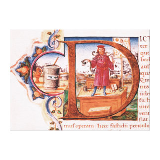 Historiated initial 'D' depicting an apothecary Stretched Canvas Print