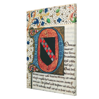 Historiated initial 'D' depicting coat of arms Gallery Wrapped Canvas