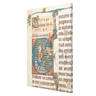 Historiated initial depicting King David playing Canvas Print