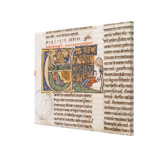Historiated initial 'E' depicting Jonah Canvas Print