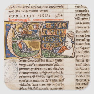Historiated initial 'E' depicting Jonah Square Sticker