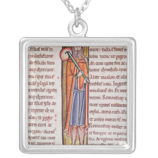 Historiated initial 'I' depicting Elimelech Silver Plated Necklace