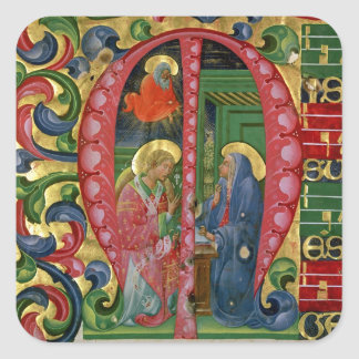 Historiated initial 'M' depicting The Annunciation Square Stickers
