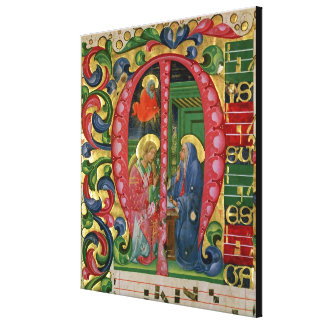 Historiated initial 'M' depicting The Annunciation Stretched Canvas Print